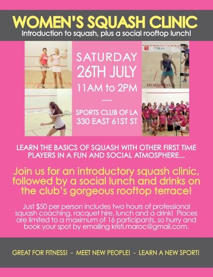 Women's squash clinic flyer