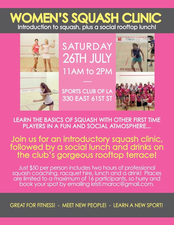 Women's squash clinic flyer