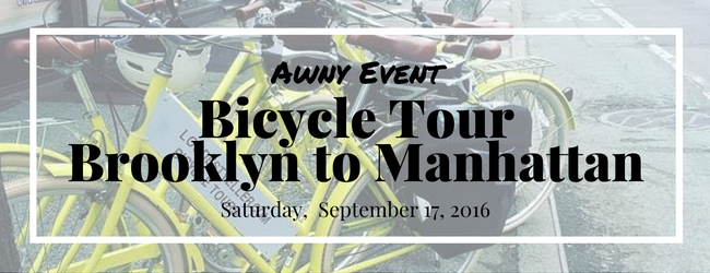 AWNY Bicycle Tour Manhattan to Brooklyn NYC Sept 17, 2016
