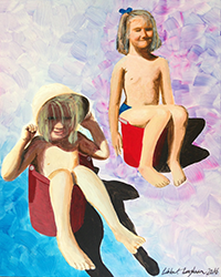 "Libbett Loughnans ""Childhood Baths #4"", 2016, Acrylic on Wood, 9x16 inches framed"