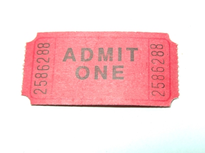 NYC Mid-winter movie marathon, movie ticket, admit one