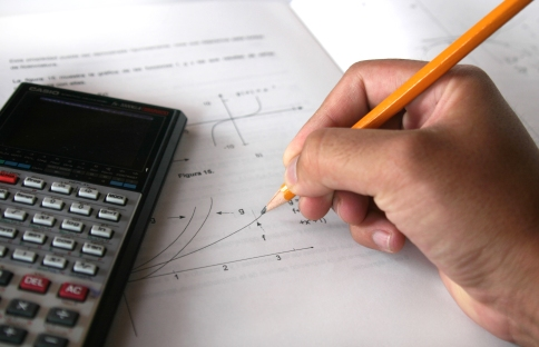 Middle school student doing Algebra Math
