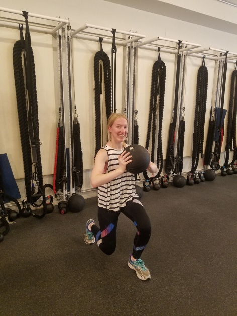 Australian woman strength training for NYC marathon