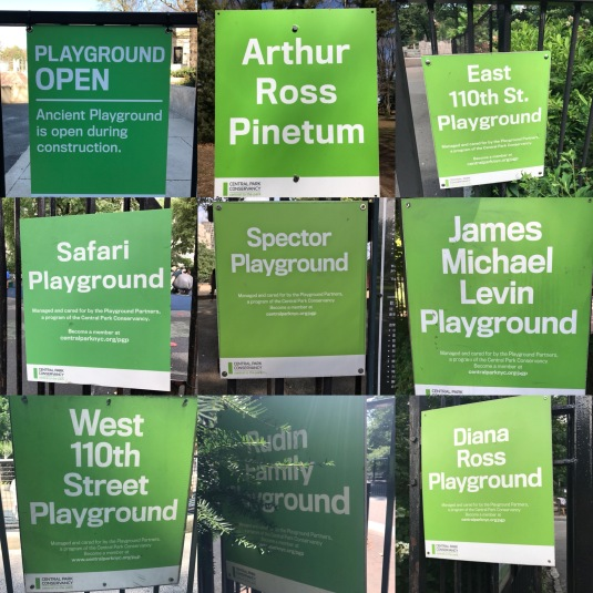 NYC Central Park Playground signs