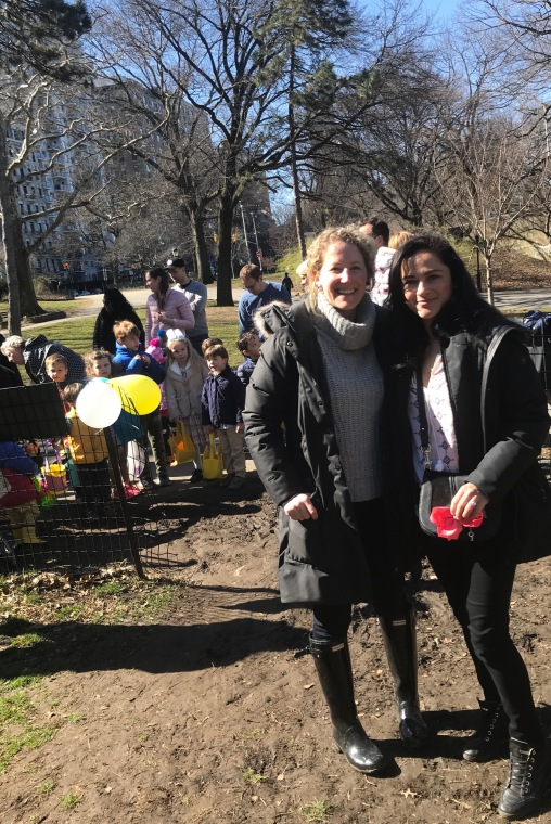 Australian Mums and Parents at Easter egg hunt in Manhattan, New York with Easter Bunny