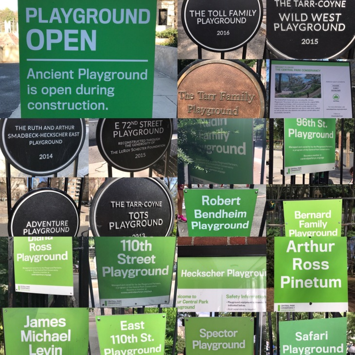 Playground signs at Central Park New York City