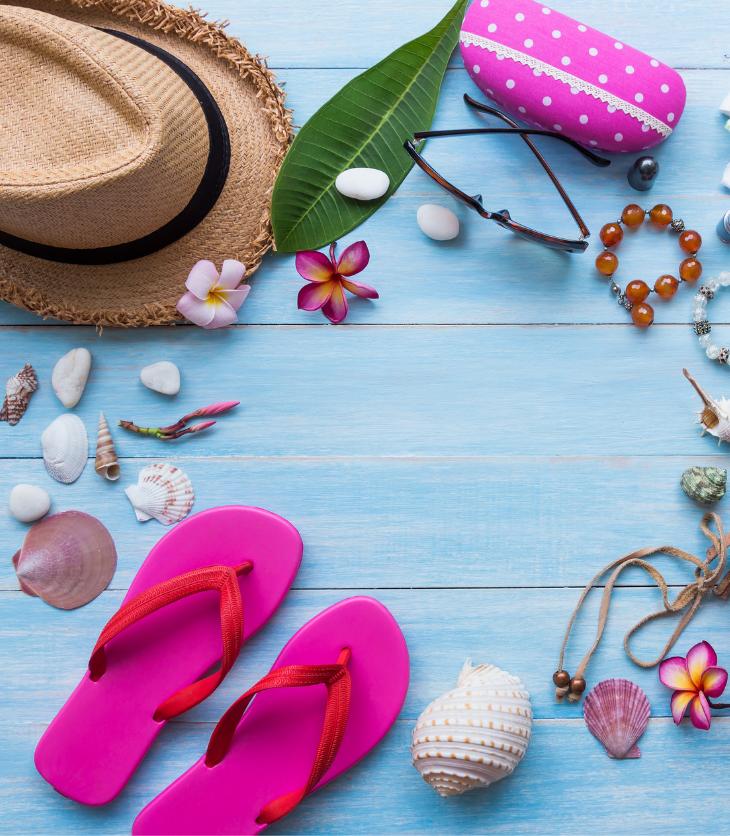 summer hats flip flops flowers shells sunglasses