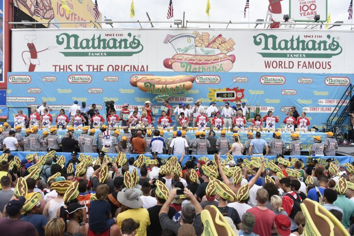 People at Nathan's Hotdog Eating Content