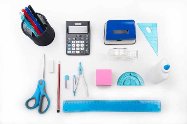 calculator compass desk equipment