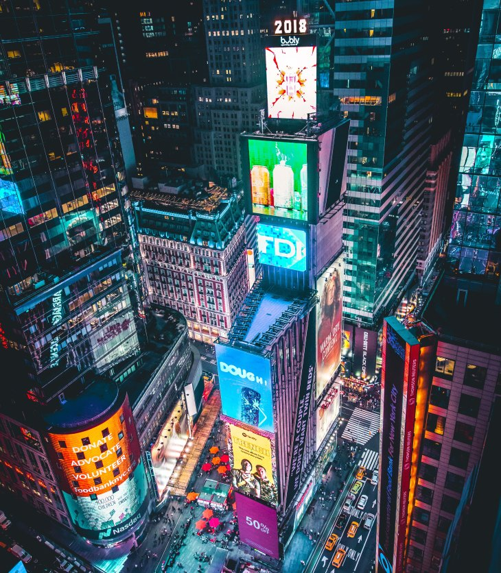 Times Square ball drop on New Year's Eve in New York City