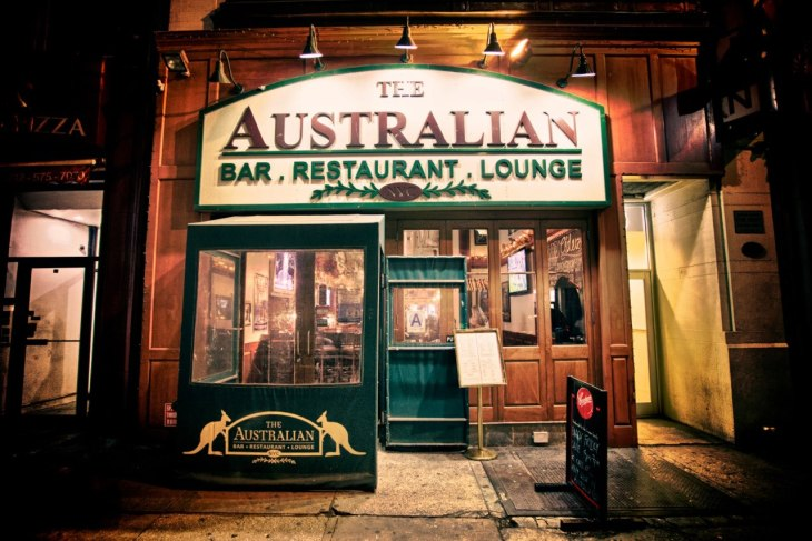 the front door of Australian Bar and Restaurant in New York City with a picture of a kangaroo on the front door