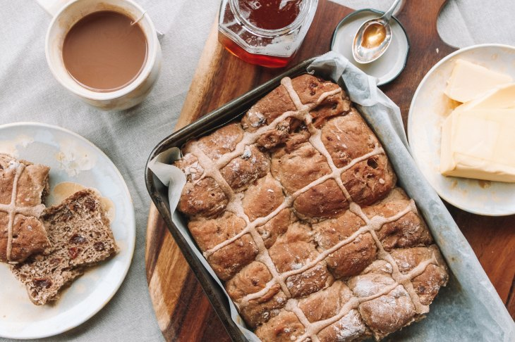 hot cross buns easter buns cup of coffee