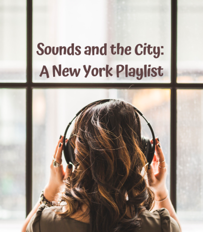 woman listening to music in New York with headphones