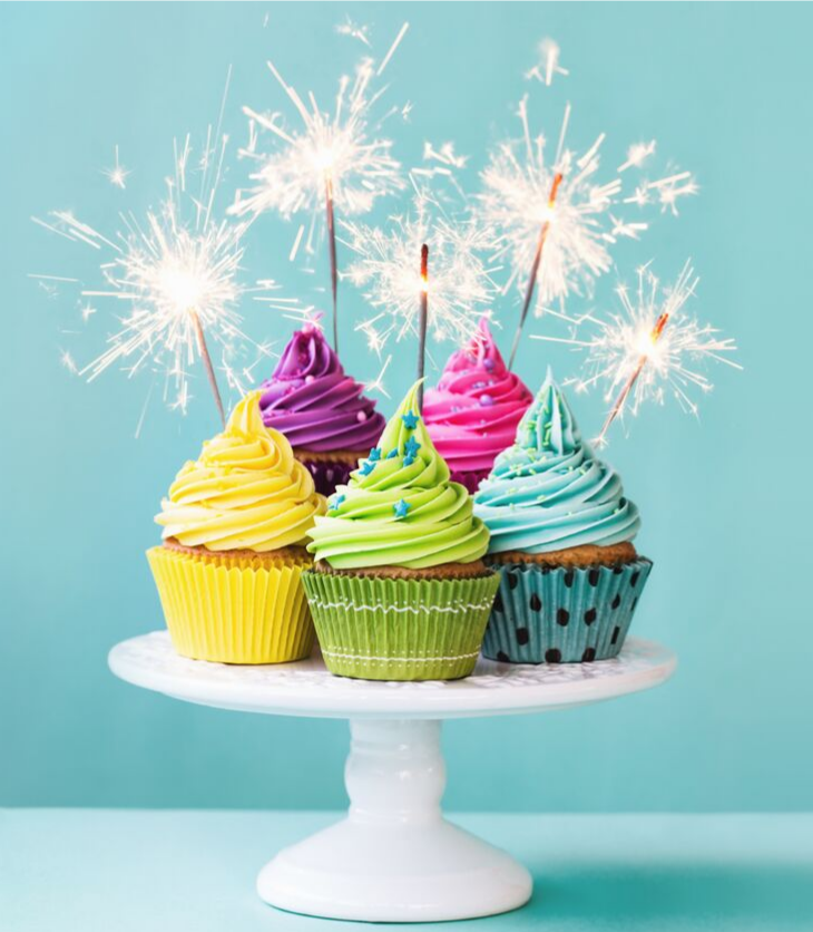 cupcakes candles birthday colorful cakes sparkler party